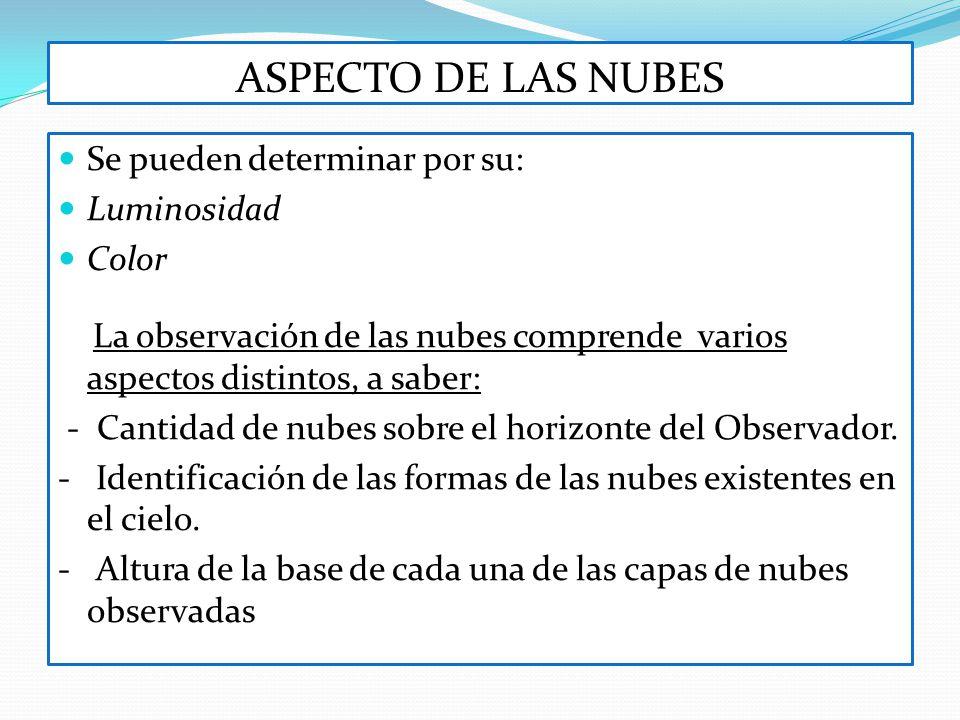 ASPECTO DE LAS NUBES Se pueden determinar por su: Luminosidad Color La observación de las nubes comprende varios aspectos distintos, a saber: - Cantid