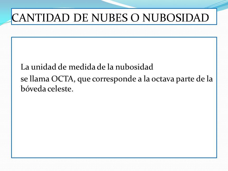 CANTIDAD DE NUBES O NUBOSIDAD La unidad de medida de la nubosidad se llama OCTA, que corresponde a la octava parte de la bóveda celeste.