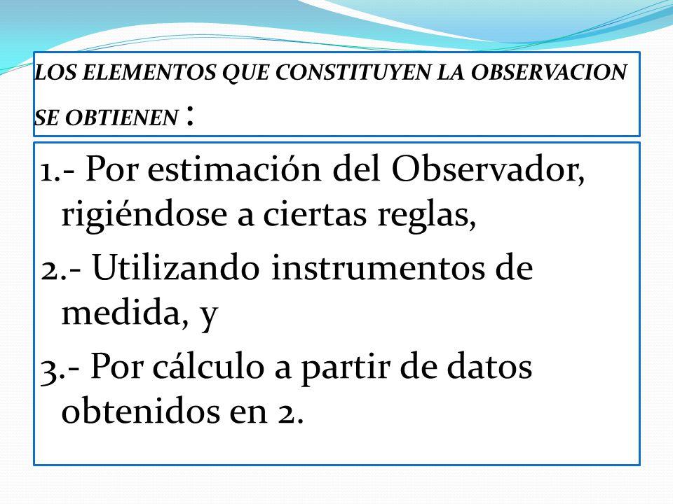 LOS ELEMENTOS QUE CONSTITUYEN LA OBSERVACION SE OBTIENEN : 1.- Por estimación del Observador, rigiéndose a ciertas reglas, 2.- Utilizando instrumentos
