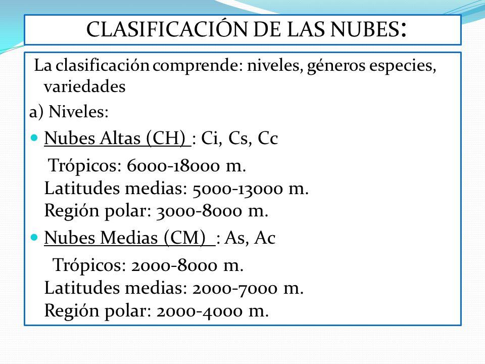 CLASIFICACIÓN DE LAS NUBES : La clasificación comprende: niveles, géneros especies, variedades a) Niveles: Nubes Altas (CH) : Ci, Cs, Cc Trópicos: 600