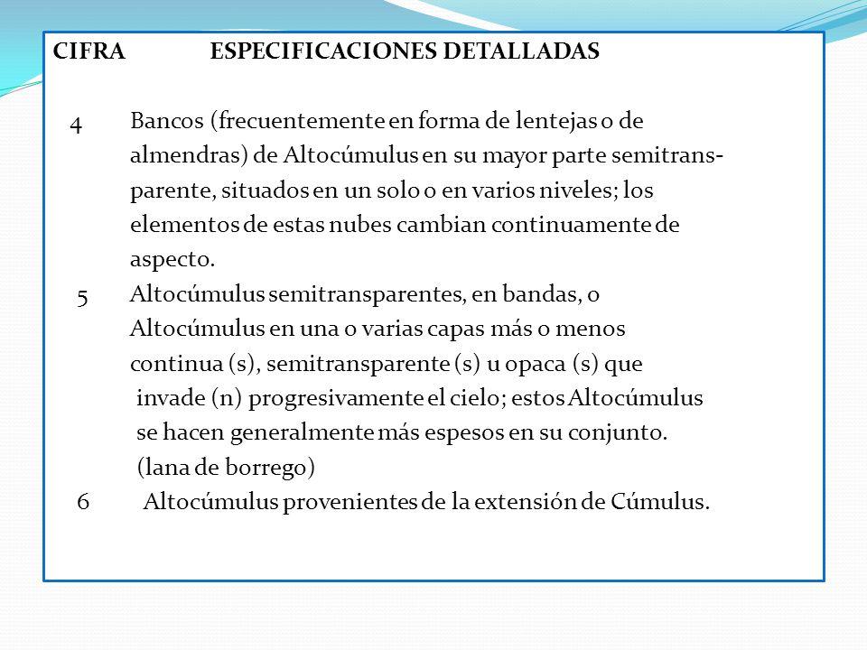 CIFRA ESPECIFICACIONES DETALLADAS 4 Bancos (frecuentemente en forma de lentejas o de almendras) de Altocúmulus en su mayor parte semitrans- parente, s