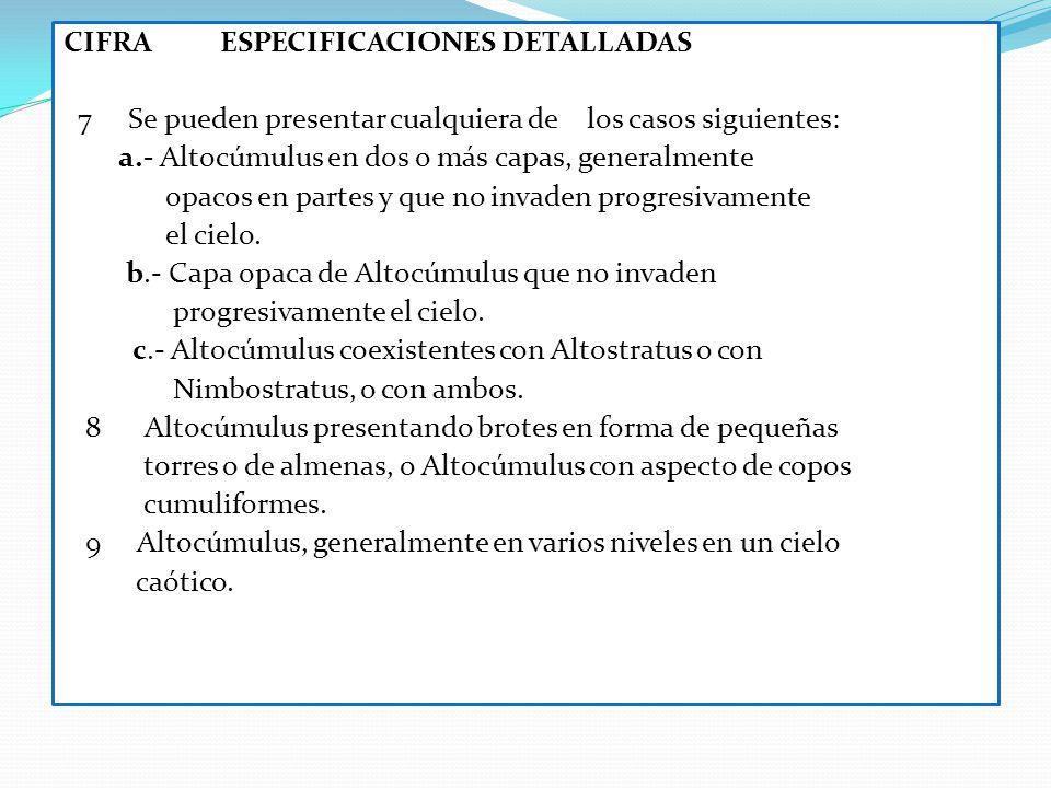 CIFRA ESPECIFICACIONES DETALLADAS 7 Se pueden presentar cualquiera de los casos siguientes: a.- Altocúmulus en dos o más capas, generalmente opacos e