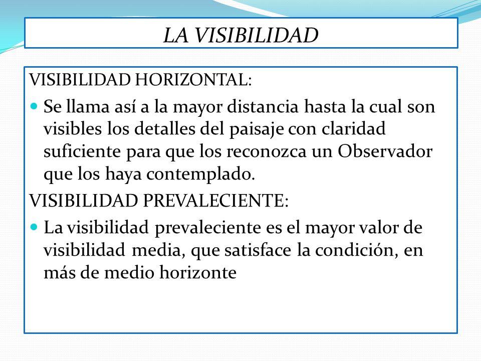 LA VISIBILIDAD VISIBILIDAD HORIZONTAL: Se llama así a la mayor distancia hasta la cual son visibles los detalles del paisaje con claridad suficiente p