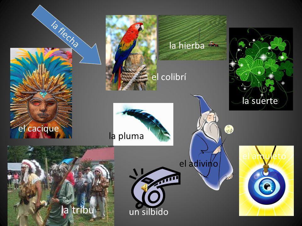 la flecha el colibrí la hierba la suerte el cacique la pluma el adivino el amuleto un silbido la tribu