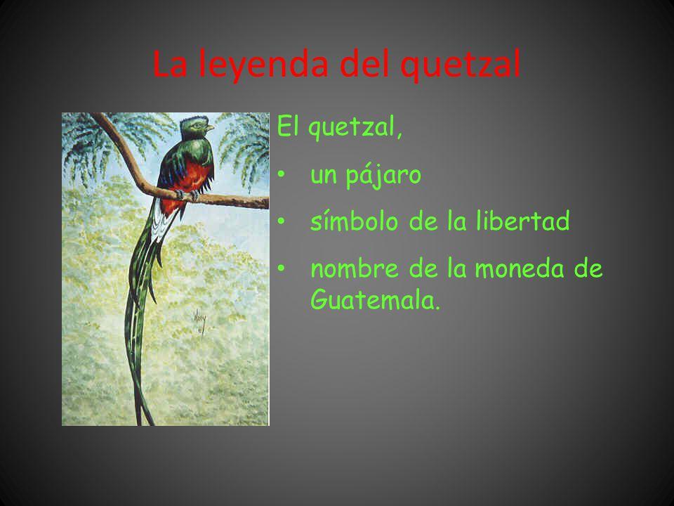 La leyenda del quetzal El quetzal, un pájaro símbolo de la libertad nombre de la moneda de Guatemala.