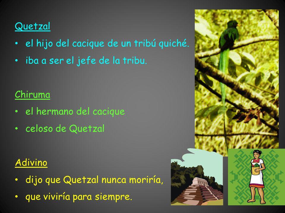 Quetzal el hijo del cacique de un tribú quiché.iba a ser el jefe de la tribu.