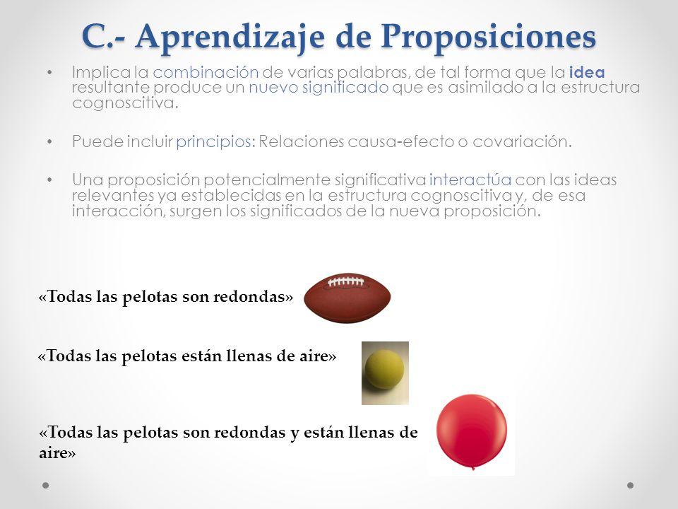 C.- Aprendizaje de Proposiciones Implica la combinación de varias palabras, de tal forma que la idea resultante produce un nuevo significado que es asimilado a la estructura cognoscitiva.