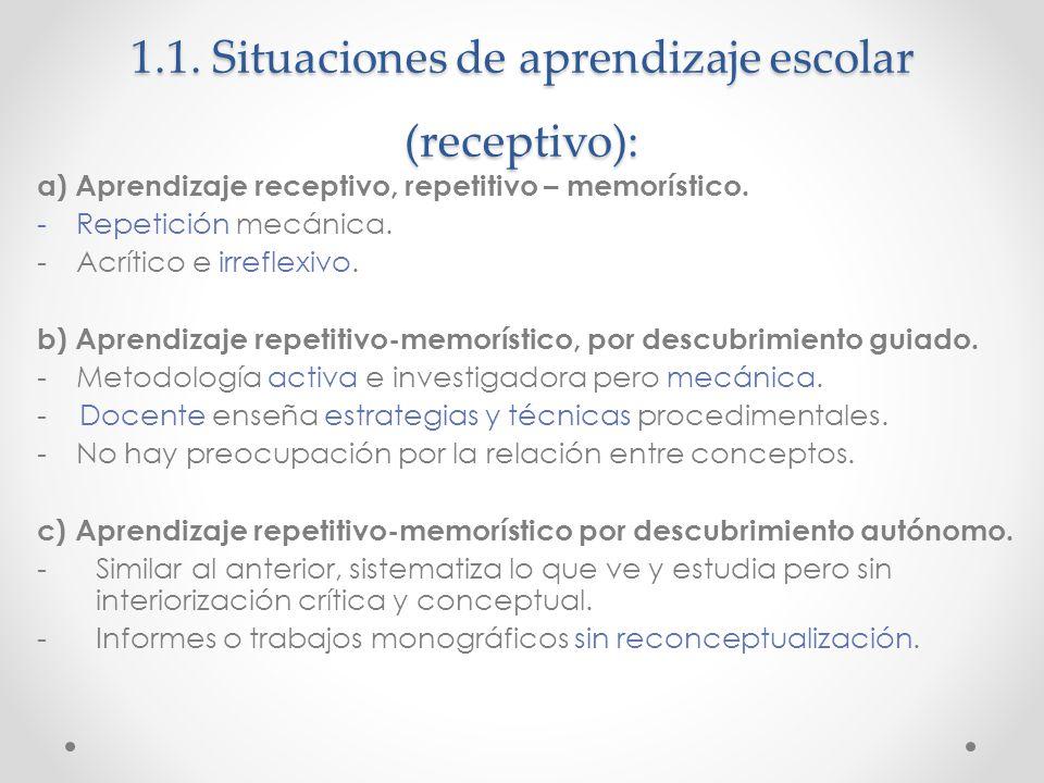 1.1. Situaciones de aprendizaje escolar (receptivo): a) Aprendizaje receptivo, repetitivo – memorístico. -Repetición mecánica. -Acrítico e irreflexivo