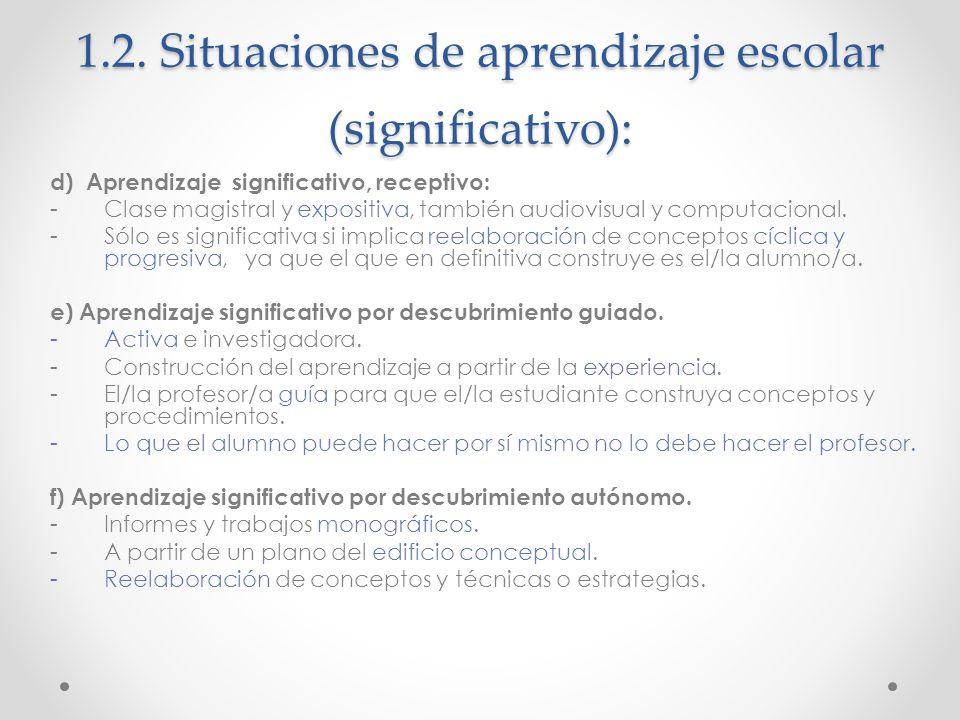 1.2. Situaciones de aprendizaje escolar (significativo): d) Aprendizaje significativo, receptivo: -Clase magistral y expositiva, también audiovisual y