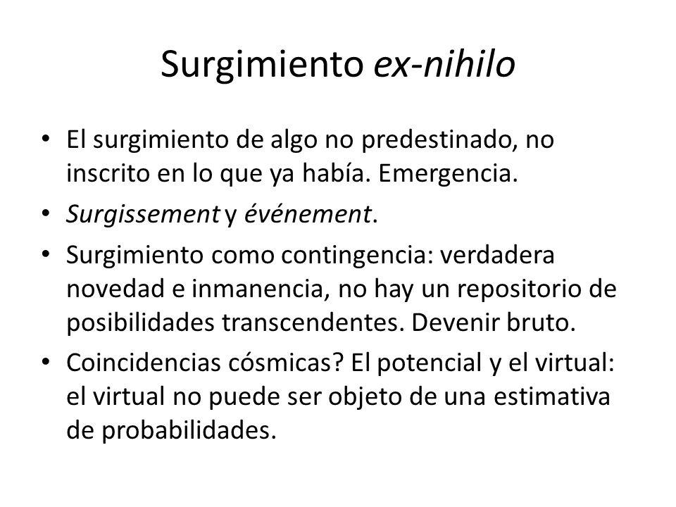 Surgimiento ex-nihilo El surgimiento de algo no predestinado, no inscrito en lo que ya había.