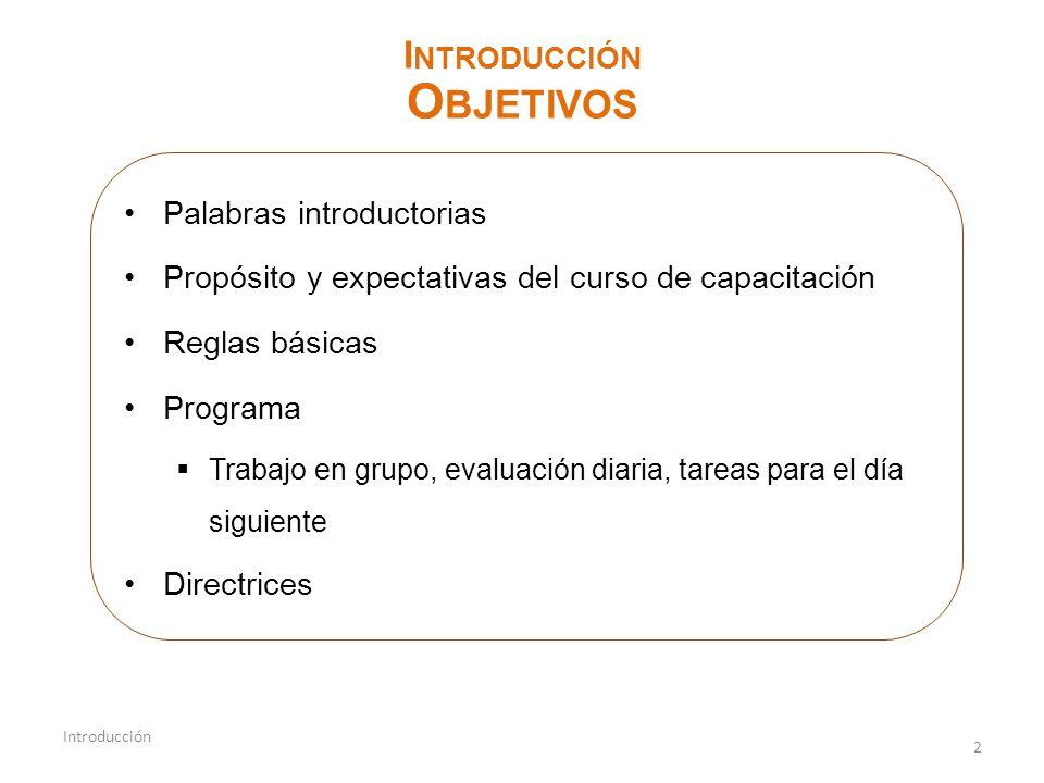 2 Introducción I NTRODUCCIÓN O BJETIVOS Palabras introductorias Propósito y expectativas del curso de capacitación Reglas básicas Programa Trabajo en