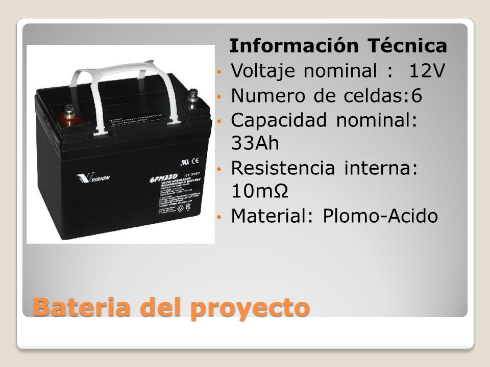 Bateria del proyecto Información Técnica Voltaje nominal : 12V Numero de celdas:6 Capacidad nominal: 33Ah Resistencia interna: 10m Material: Plomo-Aci