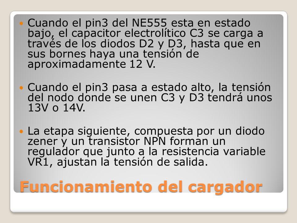 Funcionamiento del cargador Cuando el pin3 del NE555 esta en estado bajo, el capacitor electrolítico C3 se carga a través de los diodos D2 y D3, hasta