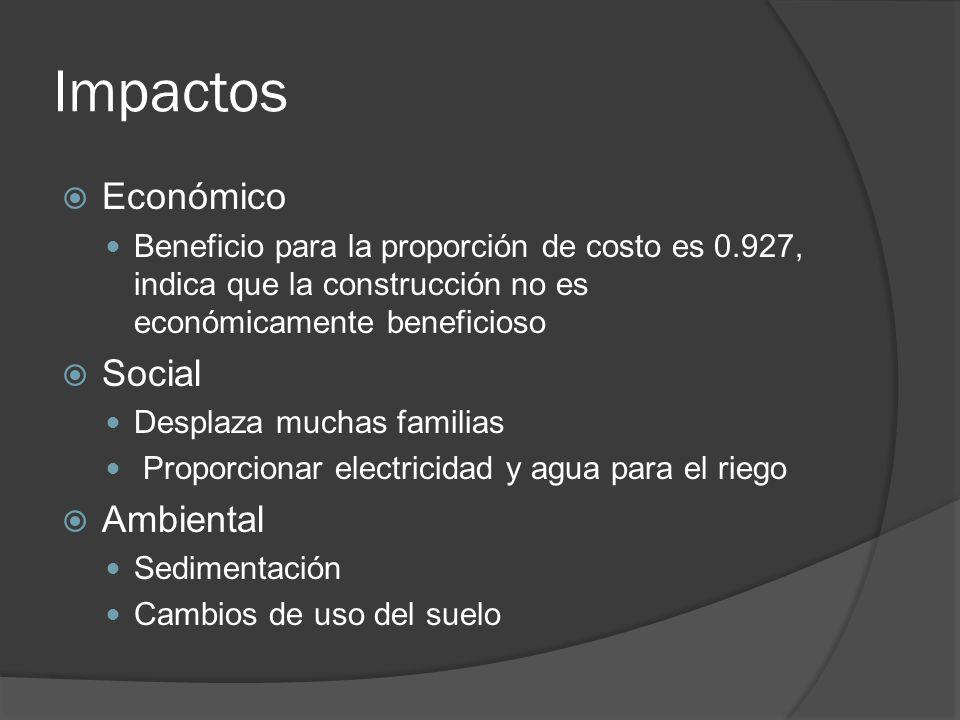 Impactos Económico Beneficio para la proporción de costo es 0.927, indica que la construcción no es económicamente beneficioso Social Desplaza muchas familias Proporcionar electricidad y agua para el riego Ambiental Sedimentación Cambios de uso del suelo