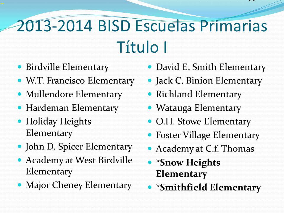 2013-2014 BISD Escuelas Primarias Título I Birdville Elementary W.T. Francisco Elementary Mullendore Elementary Hardeman Elementary Holiday Heights El