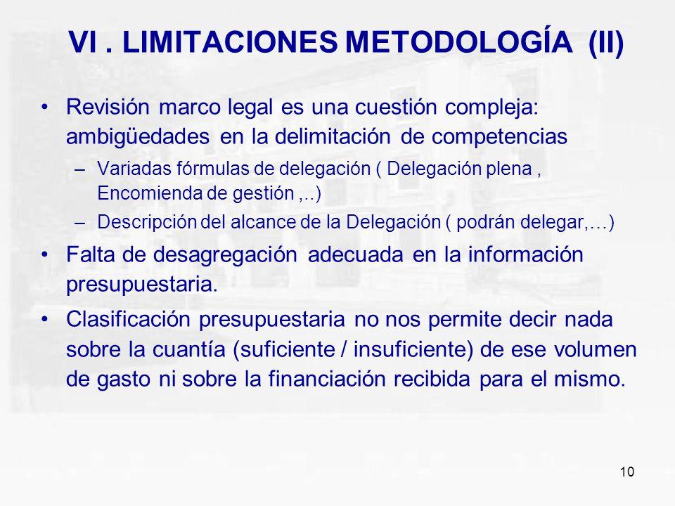 10 VI. LIMITACIONES METODOLOGÍA (II) Revisión marco legal es una cuestión compleja: ambigüedades en la delimitación de competencias –Variadas fórmulas