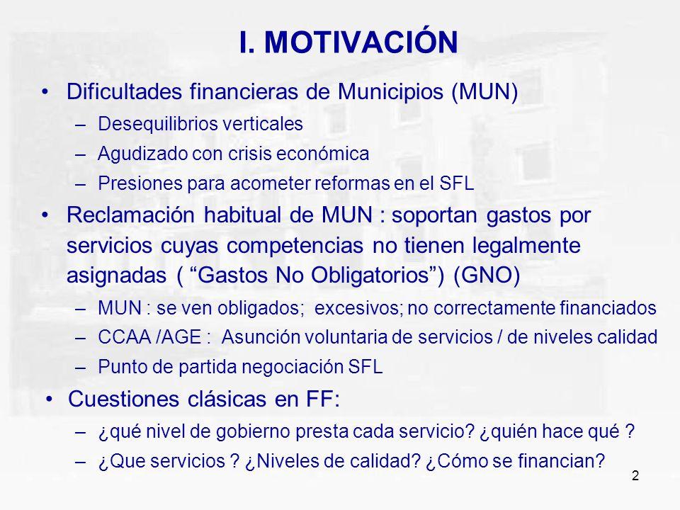2 I. MOTIVACIÓN Dificultades financieras de Municipios (MUN) –Desequilibrios verticales –Agudizado con crisis económica –Presiones para acometer refor