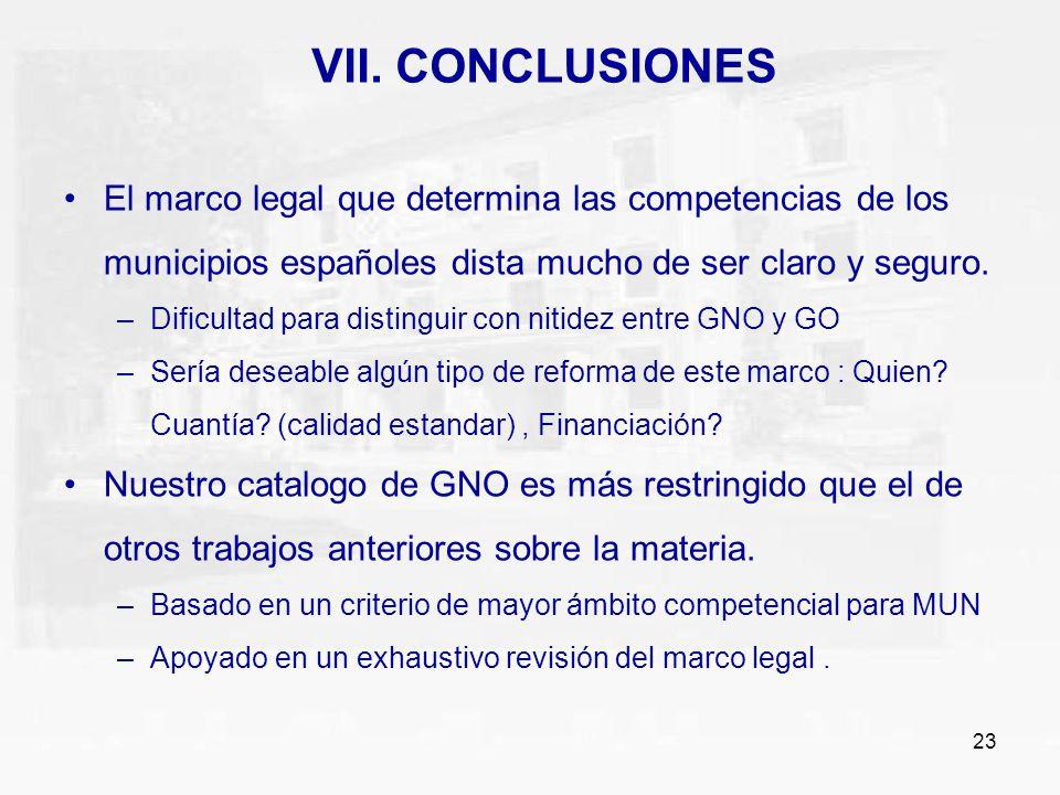23 VII. CONCLUSIONES El marco legal que determina las competencias de los municipios españoles dista mucho de ser claro y seguro. –Dificultad para dis