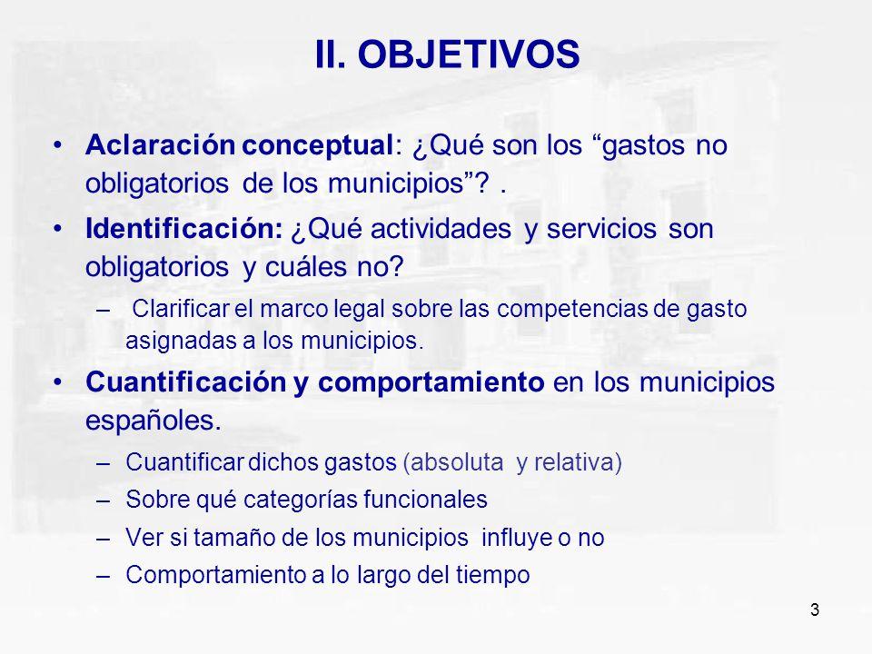 3 II. OBJETIVOS Aclaración conceptual: ¿Qué son los gastos no obligatorios de los municipios?. Identificación: ¿Qué actividades y servicios son obliga
