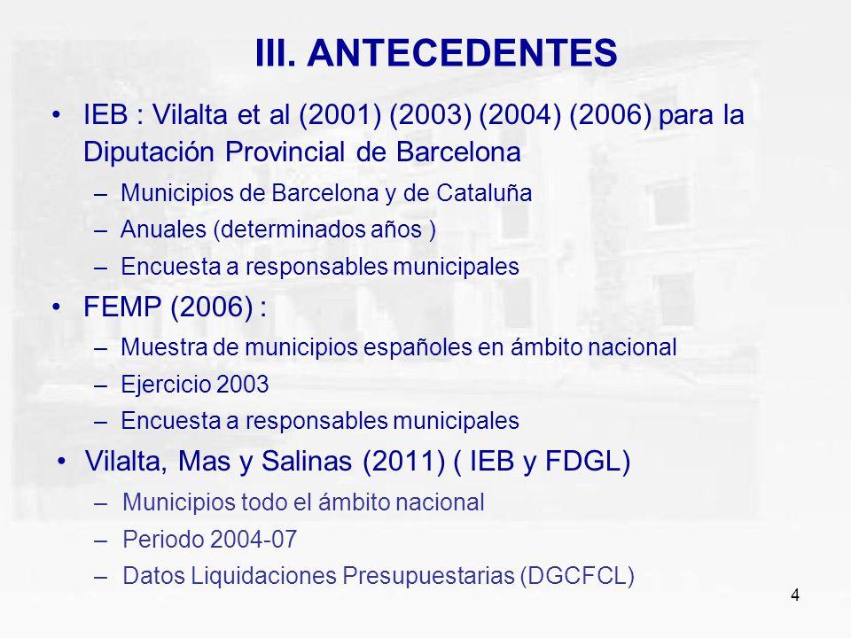 4 III. ANTECEDENTES IEB : Vilalta et al (2001) (2003) (2004) (2006) para la Diputación Provincial de Barcelona –Municipios de Barcelona y de Cataluña