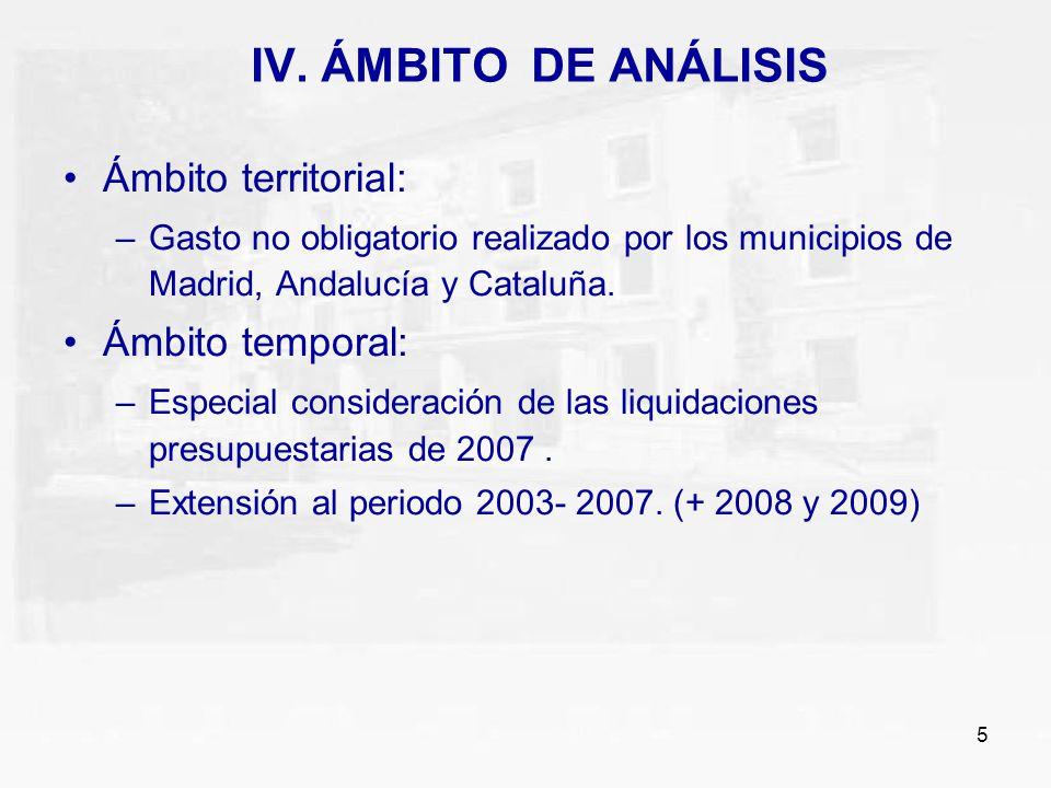 5 IV. ÁMBITO DE ANÁLISIS Ámbito territorial: –Gasto no obligatorio realizado por los municipios de Madrid, Andalucía y Cataluña. Ámbito temporal: –Esp