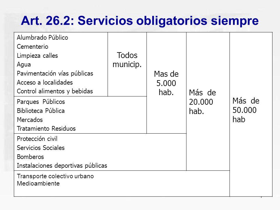 7 Art. 26.2: Servicios obligatorios siempre Alumbrado Público Cementerio Limpieza calles Agua Pavimentación vías públicas Acceso a localidades Control