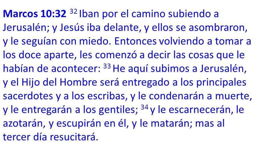 Marcos 10:32 32 Iban por el camino subiendo a Jerusalén; y Jesús iba delante, y ellos se asombraron, y le seguían con miedo.