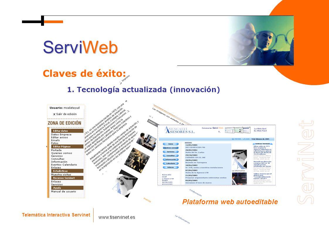 Plataforma web autoeditable Telemática Interactiva Servinet www.tiservinet.es ServiWeb Claves de éxito: 1. Tecnología actualizada (innovación)