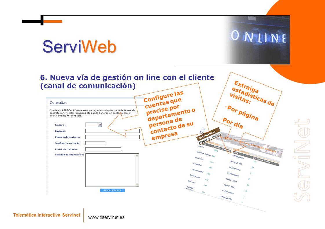 Telemática Interactiva Servinet www.tiservinet.es 6. Nueva vía de gestión on line con el cliente (canal de comunicación) ServiWeb Configure las cuenta