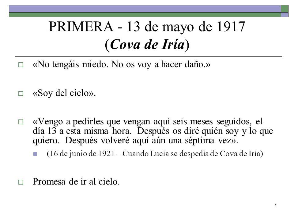 7 PRIMERA - 13 de mayo de 1917 (Cova de Iría) «No tengáis miedo. No os voy a hacer daño.» «Soy del cielo». «Vengo a pedirles que vengan aquí seis mese
