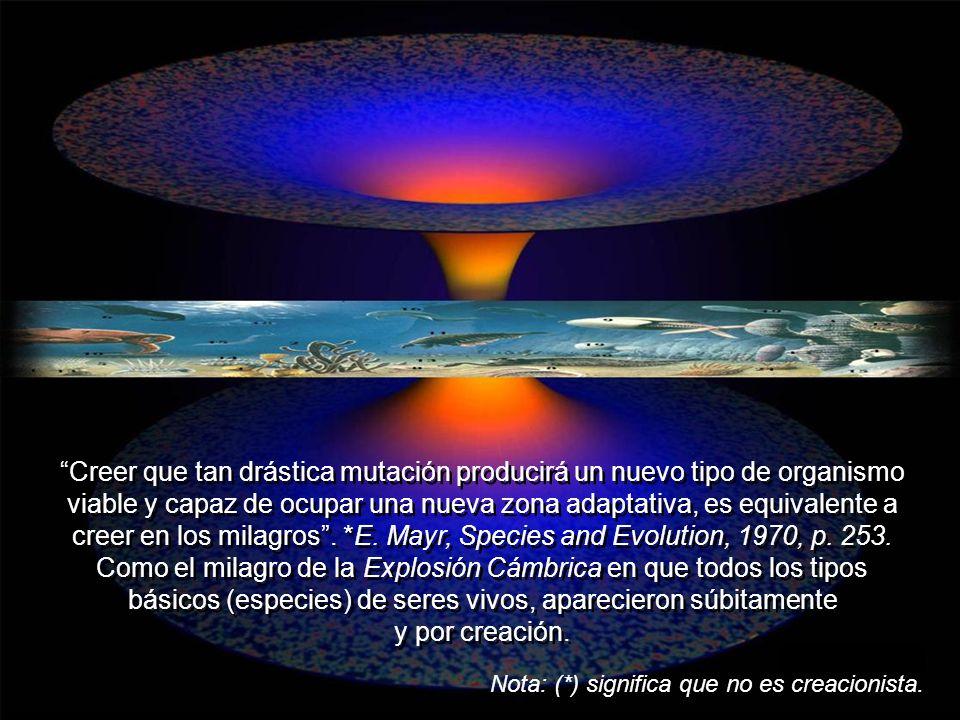 Desde que se demostró que es falsa la teoría de *Lamarck, y que la teoría de la selección natural no explica ni el origen ni la herencia de los cambio