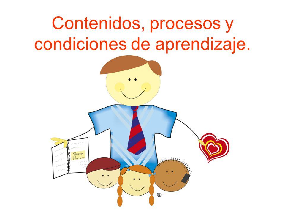 Contenidos, procesos y condiciones de aprendizaje.