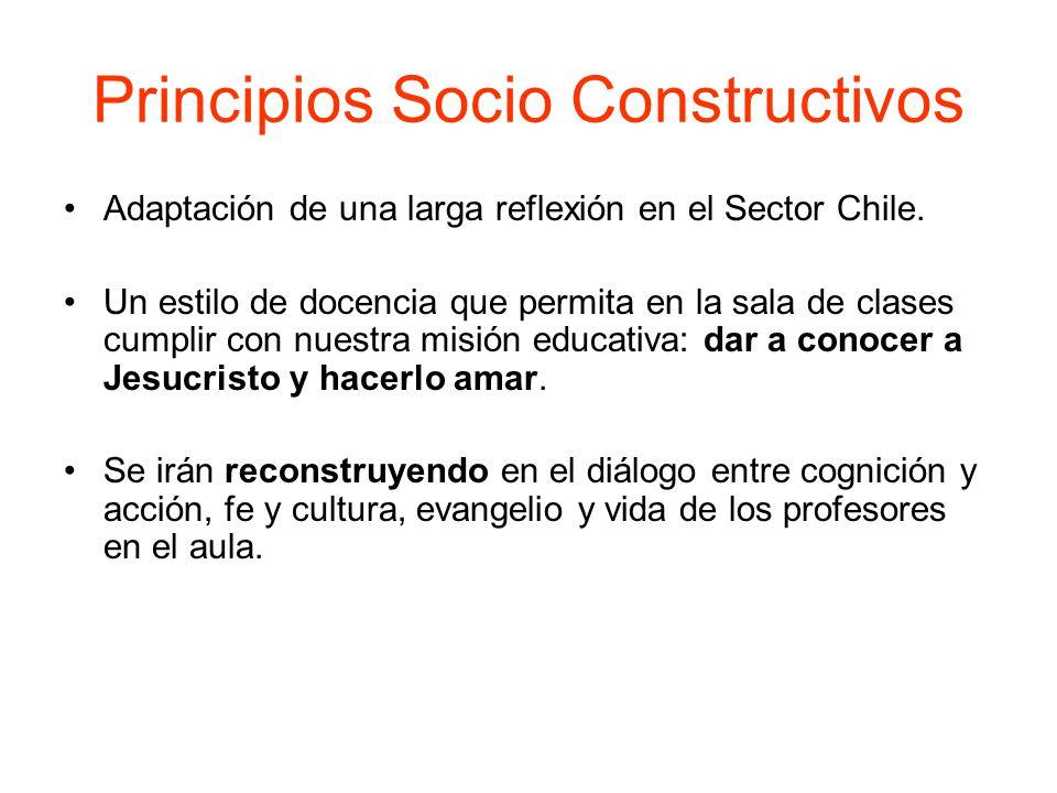 Principios Socio Constructivos Adaptación de una larga reflexión en el Sector Chile. Un estilo de docencia que permita en la sala de clases cumplir co