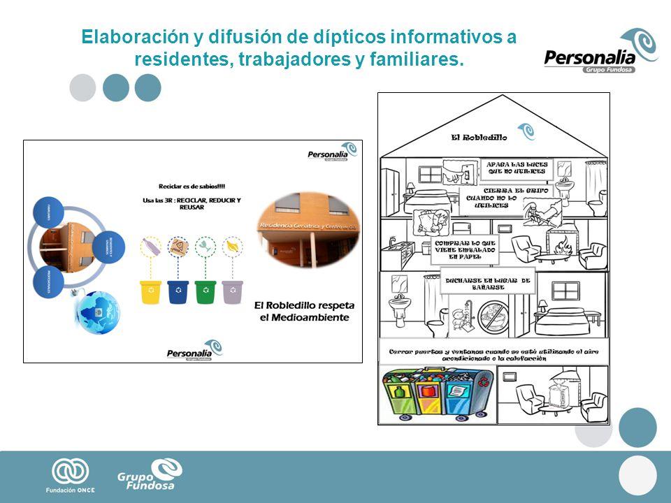Elaboración y difusión de dípticos informativos a residentes, trabajadores y familiares.