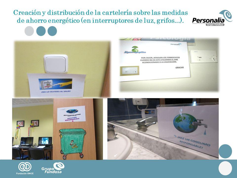 Creación y distribución de la cartelería sobre las medidas de ahorro energético (en interruptores de luz, grifos...).