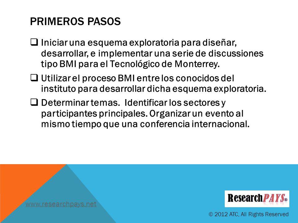 PRIMEROS PASOS Iniciar una esquema exploratoria para diseñar, desarrollar, e implementar una serie de discussiones tipo BMI para el Tecnológico de Monterrey.
