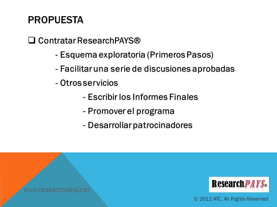 PROPUESTA Contratar ResearchPAYS® - Esquema exploratoria (Primeros Pasos) - Facilitar una serie de discusiones aprobadas - Otros servicios - Escribir