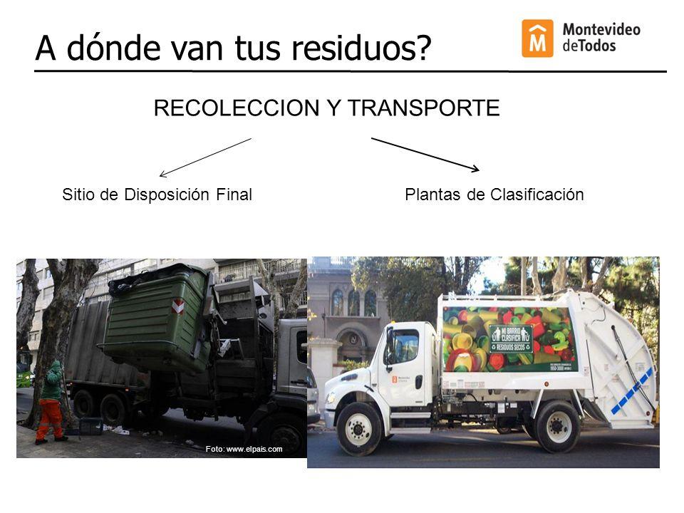 A dónde van tus residuos? RECOLECCION Y TRANSPORTE Plantas de ClasificaciónSitio de Disposición Final Foto: www.elpais.com