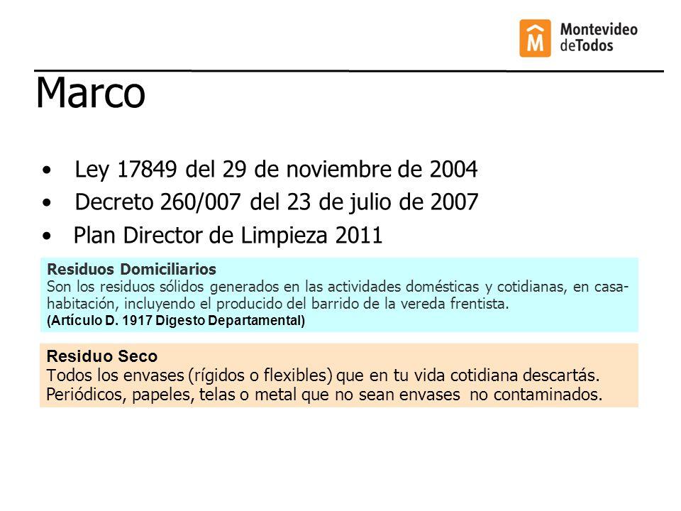 Marco Ley 17849 del 29 de noviembre de 2004 Decreto 260/007 del 23 de julio de 2007 Plan Director de Limpieza 2011 Residuo Seco T odos los envases (rí