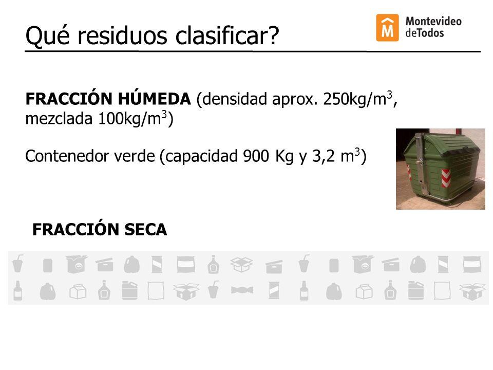 Qué residuos clasificar? FRACCIÓN HÚMEDA (densidad aprox. 250kg/m 3, mezclada 100kg/m 3 ) Contenedor verde (capacidad 900 Kg y 3,2 m 3 ) FRACCIÓN SECA