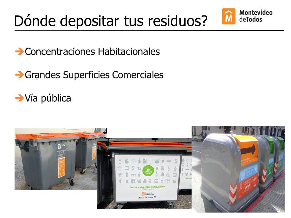 Dónde depositar tus residuos? Concentraciones Habitacionales Grandes Superficies Comerciales Vía pública