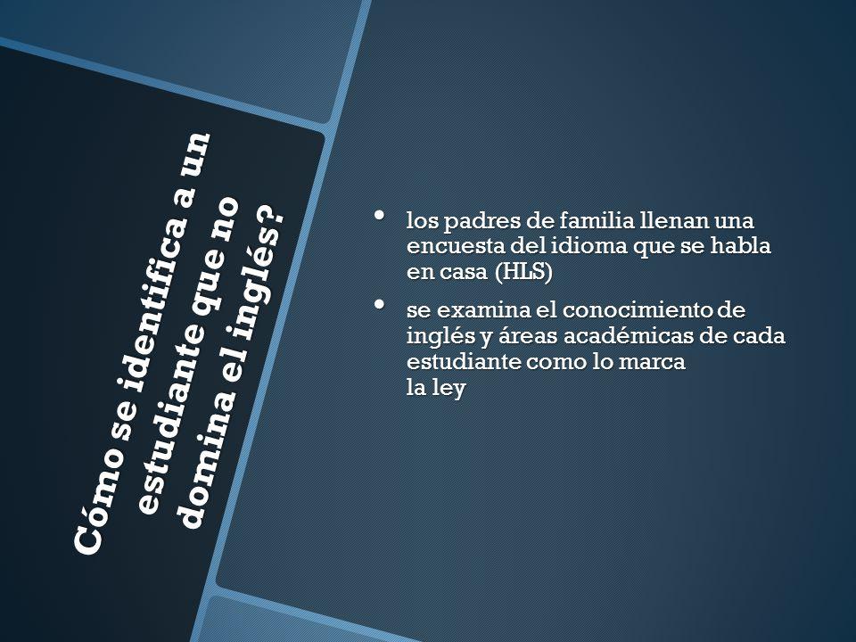 Cómo se identifica a un estudiante que no domina el inglés? los padres de familia llenan una encuesta del idioma que se habla en casa (HLS) los padres
