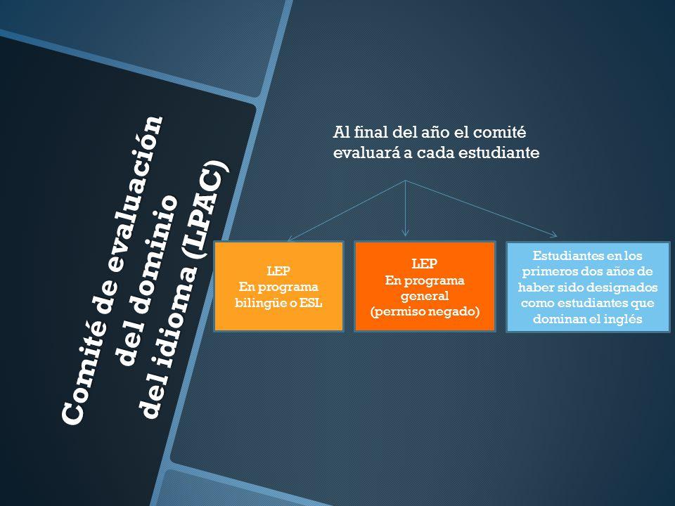 Comité de evaluación del dominio del idioma (LPAC) Al final del año el comité evaluará a cada estudiante LEP En programa bilingüe o ESL LEP En program