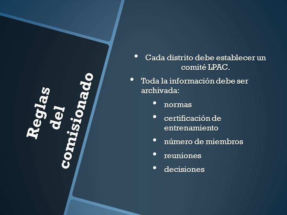 Reglas del comisionado Cada distrito debe establecer un comité LPAC. Cada distrito debe establecer un comité LPAC. Toda la información debe ser archiv