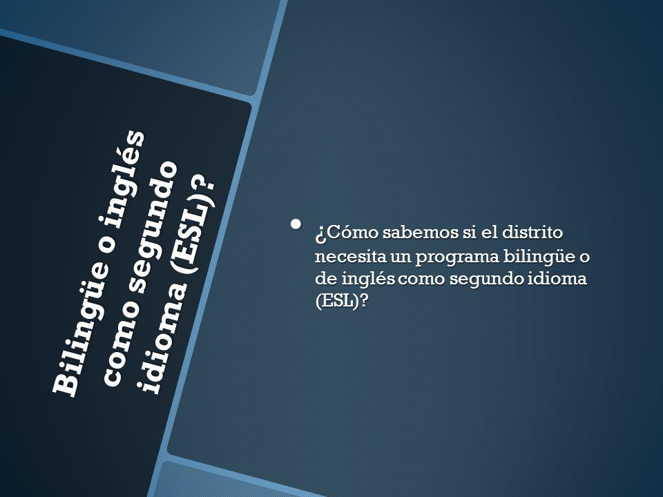 Bilingüe o inglés como segundo idioma (ESL)? ¿ Cómo sabemos si el distrito necesita un programa bilingüe o de inglés como segundo idioma (ESL)? ¿ Cómo
