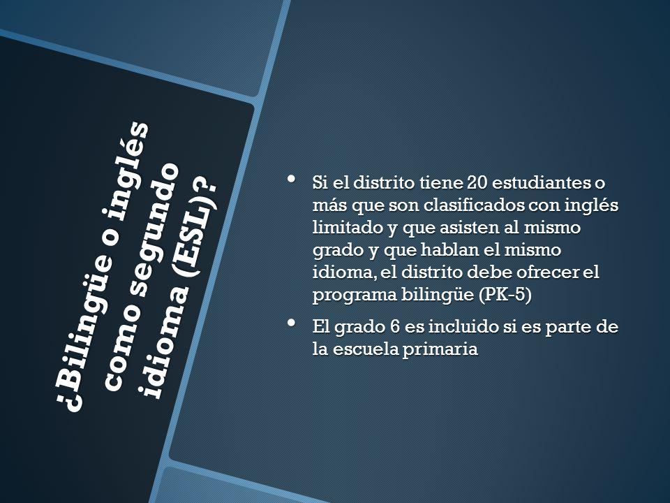 Comité de evaluación del dominio del idioma (LPAC) El comité recomendará el programa bilingüe o ESL si los resultados de los exámenes indican que el dominio del idioma inglés no está al nivel requerido.