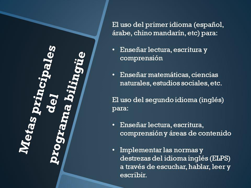 Metas principales del programa bilingüe El uso del primer idioma (español, árabe, chino mandarín, etc) para: Enseñar lectura, escritura y comprensión