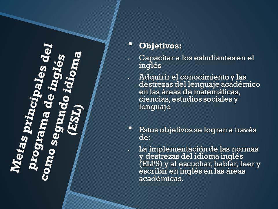 Metas principales del programa de inglés como segundo idioma (ESL) Objetivos: Objetivos: Capacitar a los estudiantes en el inglés Capacitar a los estu