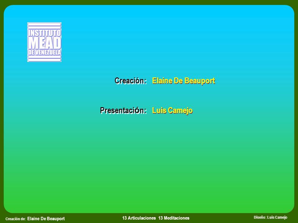 Creación de: Elaine De Beauport Diseño: Luis Camejo 13 Articulaciones 13 Meditaciones Elaine De Beauport Luis Camejo Elaine De Beauport Luis Camejo Creación: Presentaci ó n: Creación: Presentaci ó n: