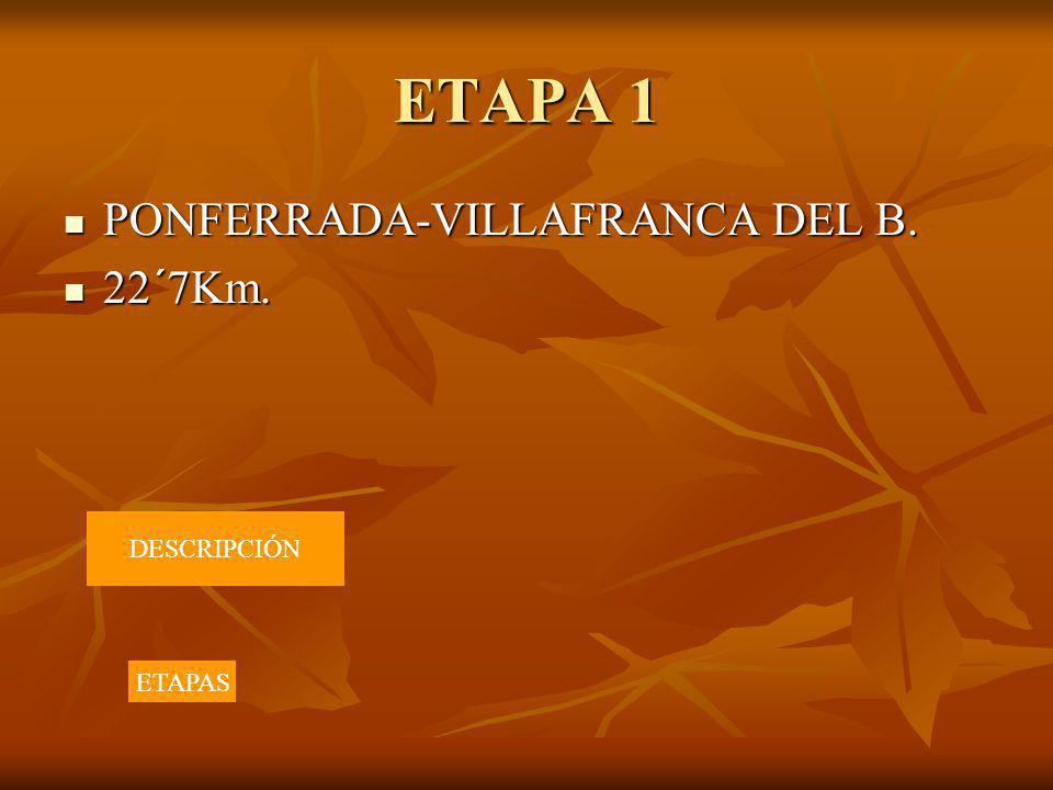 ETAPA 1 PONFERRADA-VILLAFRANCA DEL B. PONFERRADA-VILLAFRANCA DEL B. 22´7Km. 22´7Km. DESCRIPCIÓN ETAPAS